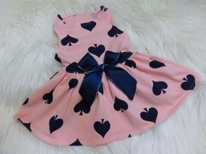 ★かわいい犬服ワンピ/ドレス  スペード柄ワンピ