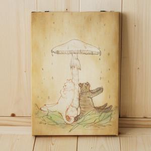 B5サイズ(小)複製画●猫とネコの絵本シリーズ●猫とネコの雨宿り