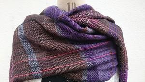 -Brown & Purple- さをり織り ブラウン&パープルストール