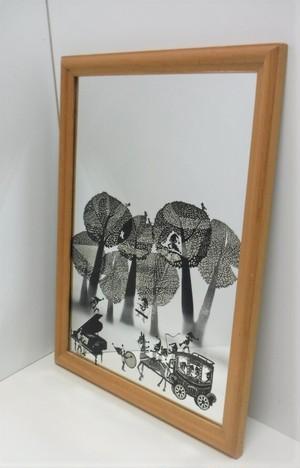 藤城清治 ウォールミラー【こびと達の森 馬車とピアノと】(1011207100)