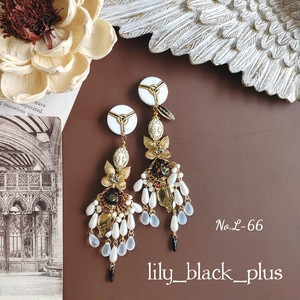 No.L-66 vintage buttonと真鍮Butterflyパールピアス/イヤリング