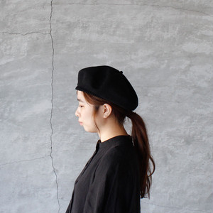 mature ha. (マチュアーハ )beret top gather big silk black 送料無料