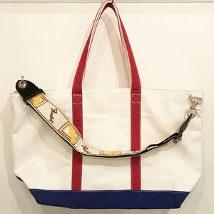 "Strap Tote ""TRICOLORE"" (White x Blue, Red) ストラップベージュver"