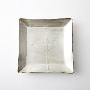 Yoshiaki Yuki 銀彩 角皿 Silver plate square