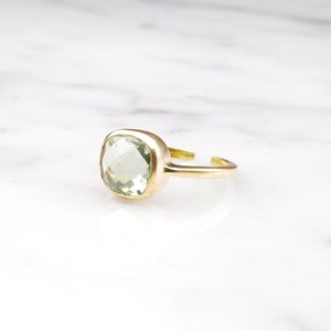 SQUARE CHECKER CUT STONE RING GOLD 025