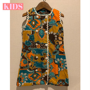 【KIDS】Vintage 60/70's floral terrycloth dress French-
