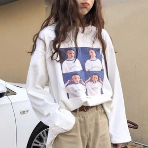 【トップス】シンプルプリント長袖切り替えTシャツ26721099
