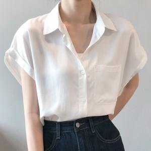【トップス】折襟 シングルブレスト 無地 半袖 シャツ48448974