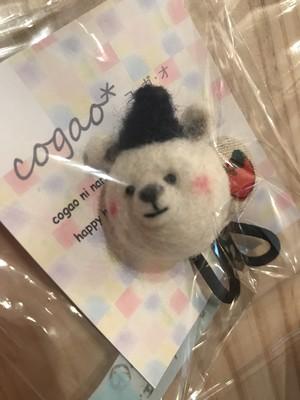 【ハンドメイド】co08羊毛フェルト クマのヘアゴム小