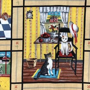 Yellow Blue Cats Pattern V Neck Pullover / ねこVネックプルオーバーブラウス
