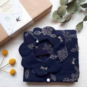 あじさい蝶々刺繍の出産祝いセット ブランケット&スタイ