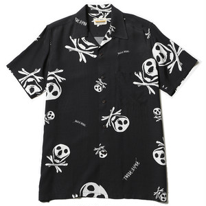 RUDE GALLERY BLACK REBEL MUNCH SKULL ALOHA SHIRT