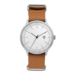 HAROLD【CHPO】 White dial. Brown leather strap