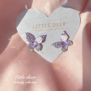 purple butterfly&flower イヤリング b0356