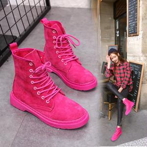 【シューズ】ファッション無地丸トゥショート丈ブーツ22700200