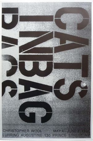 Christopher Wool Exhibition Poster CATS IN BAG 1991