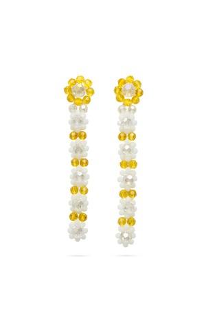 Glass Beads Flower Long Earrings