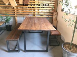 ダイニングテーブル 160cm スギ材 アイアン [Sugi  Dining Table (Square leg)]