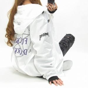 ユニセックス/バックプリント/袖ロゴ/ブルゾン/ZIPパーカージャケット/限定インポート白