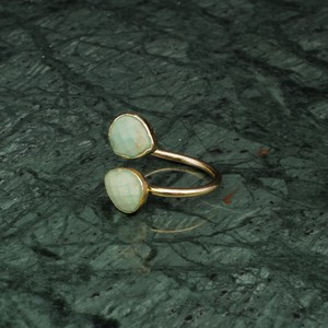 DOUBLE STONE OPEN RING GOLD 026