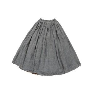 リネン*ギャザースカート*杢グレー