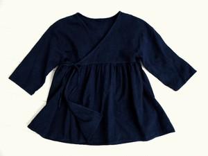 ◆100%自然素材 天然灰汁発酵建て 本藍染◆ 5分袖 カシュクールトップス