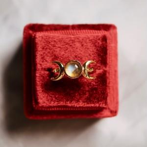 ラブラドライト 月と星の指輪