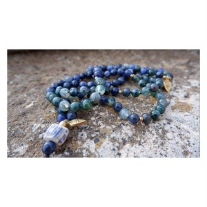 Japa mala : moss agate × sodalite × antique beads
