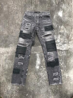 """KAZUYUKI KUMAGAI """"patch work"""" denim pants"""