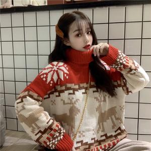 【トップス】スウィート学園風刺繍幾何模様カートゥーンニットセーター