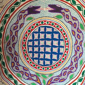 アマゾンの泥染め大判白刺繍001アヤワスカ蛇