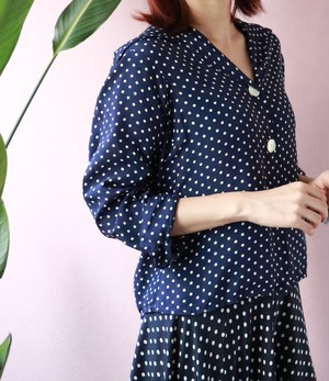 80s navy polka dots open collar shirts
