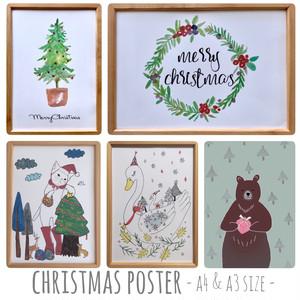 127【クリスマスのインテリアポスター】A4.A3
