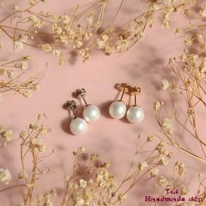 小さめピアス8mm ★ リッチホワイトのコットンパール ❤ シンプル