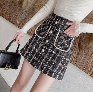 button tweed skirt 2color