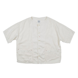 PORTER CLASSIC Linen Baseball Shirt White PC-021-1098-90