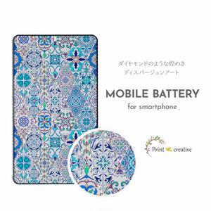 【全機種対応】モバイルバッテリー(ブルーモロッコタイル)ディスパージョンアート 強化ガラス