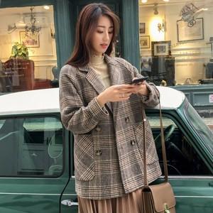 韓国ファッション 売れ筋 ダブルボタン ラシャ チェック柄 ショートコート・アウター