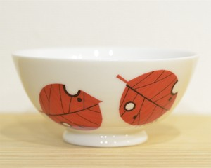 鈴木悦郎 茶碗 木の葉(赤)