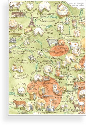 Post Card(Carte des fromages AOC de France)