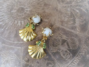 vintage earrings 2way gold shell <ER-shgld>
