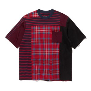 CHECK CONTRASTED T-SHIRT -RED