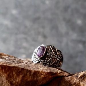 Vintage Amethyst & Marcasite Sterling Silver Ring #17