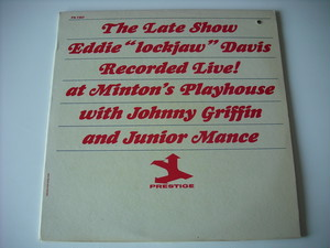 "【LP】EDDIE ""LOCKJAW"" DAVIS, JOHNNY GRIFFIN, JUNIOR MANCE / THE LATE SHOW"