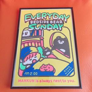 EVERYDAY SUNDAY リソグラフA4ミニポスター(フレーム付き)