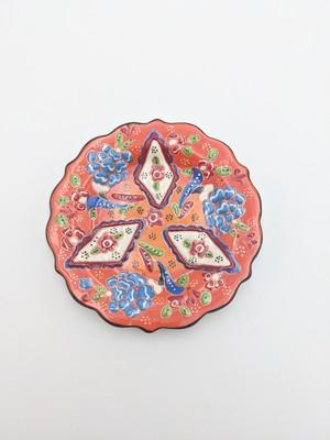 トルコのお皿 直径13㎝ オレンジ