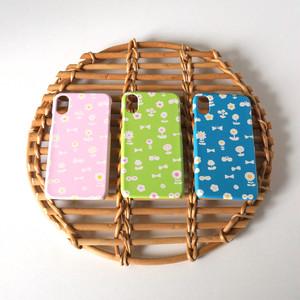【iPhone / Android 各機種専用タイプ】側表面印刷*ハード型*スマホケース「 flower garden ( pink / blue / green ) 」● 受注生産