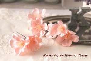 ピーチピンクの桜のUピン(3本セット) ウェディング ピーチピンク 桜 サクラ さくら 髪飾り ヘッドドレス 浴衣 和装 着物