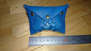 ソフトタイプ 犬の肉球小物入れ(小銭入れ)青