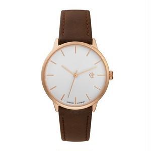 【CHPO】Khorshid Rose Gold White dial / Brown vegan leather strap